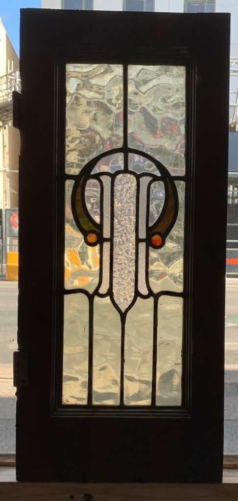 Leadlight window , frame size is 300 mm x 680 mm , $165 salvaged, recycled, demolition, reproduction, restoration, home renovation secondhand, used , original, old, reclaimed, heritage, antique, victorian, art nouveau edwardian, georgian, art deco