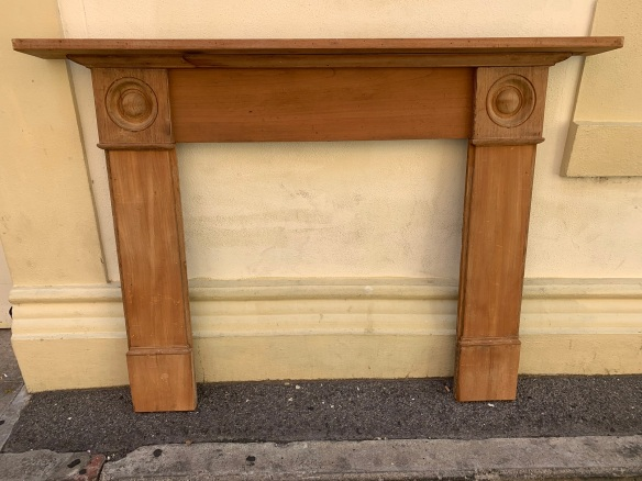 Original Australian cedar Georgian fireplace mantle with rondels, top shelf is 1705mm x 172mm , height is 1225 mm, opening is 950mm wide x 945mm tall, $645 salvaged, recycled, demolition, reproduction, restoration, home renovation secondhand, used , original, old, reclaimed, heritage, antique, victorian, art nouveau edwardian, georgian, art deco Original Australian cedar Georgian fireplace mantle , top shelf is 1705 mm x 172 mm , height is 1225 mm , opening is 950 mm wide x 945 mm tall , $645