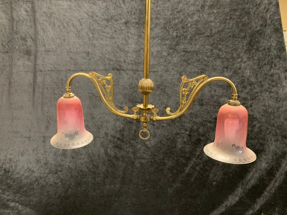 Twin light fitting with etched ruby shades, ornate brass fittings, 900mm drop x 630mm wide, $345 , $345 salvaged, recycled, demolition, reproduction, restoration, home renovation secondhand, used , original, old, reclaimed, heritage, antique, victorian, art nouveau edwardian, georgian, art deco