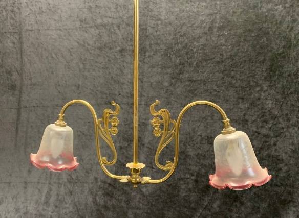 Lovely Art Nouveau style light fitting with etched ruby edged shades, 900mm drop, 650mm diameter, $345 salvaged, recycled, demolition, reproduction, restoration, home renovation secondhand, used , original, old, reclaimed, heritage, antique, victorian, art nouveau edwardian, georgian, art deco