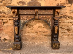 Original arch fireplace mantle with painted/marbleised finish in excellent condition , top shelf is 1475 mm x 245 mm , height is 1205 mm , opening is 920 mm wide x 890 mm to the top of arch , $845 salvaged, recycled, demolition, reproduction, restoration, home renovation secondhand, used , original, old, reclaimed, heritage, antique, victorian, art nouveau edwardian, georgian, art deco