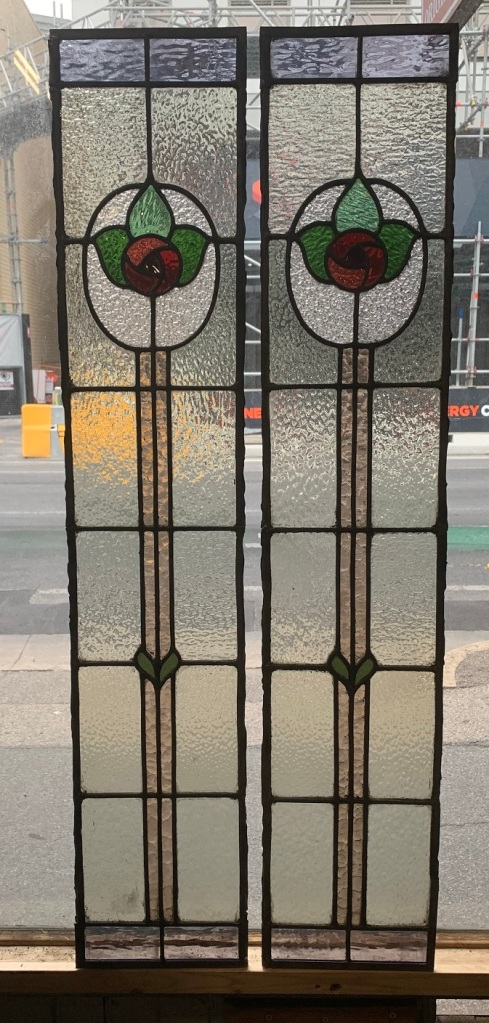 salvaged, recycled,Pair of leadlight side light panels , 1165 mm x 225 mm , $ 285 each , 2 available demolition, reproduction, restoration, home renovation secondhand, used , original, old, reclaimed, heritage, antique, victorian, art nouveau edwardian, georgian, art deco