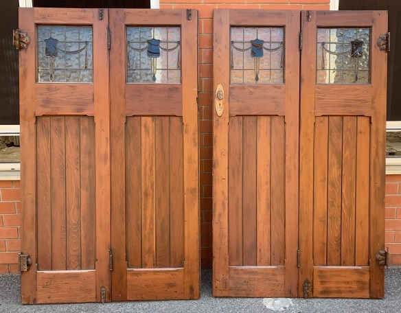 Red Pine Bungalow Bi-Fold doors with lead light , and nice bronze florentine hardware , 2435 mm wide x 2030 mm tall x 40 mm thick , $875 salvaged, recycled, demolition, reproduction, restoration, home renovation secondhand, used , original, old, reclaimed, heritage, antique, victorian, art nouveau edwardian, georgian, art deco