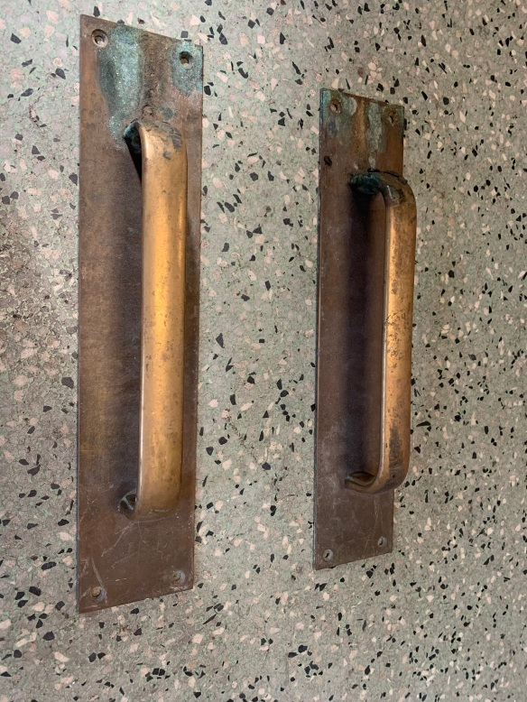 Pair of brass pull handles , 303 mm x 64 mm , $75 the pair salvaged, recycled, demolition, reproduction, restoration, home renovation secondhand, used , original, old, reclaimed, heritage, antique, victorian, art nouveau edwardian, georgian, art deco