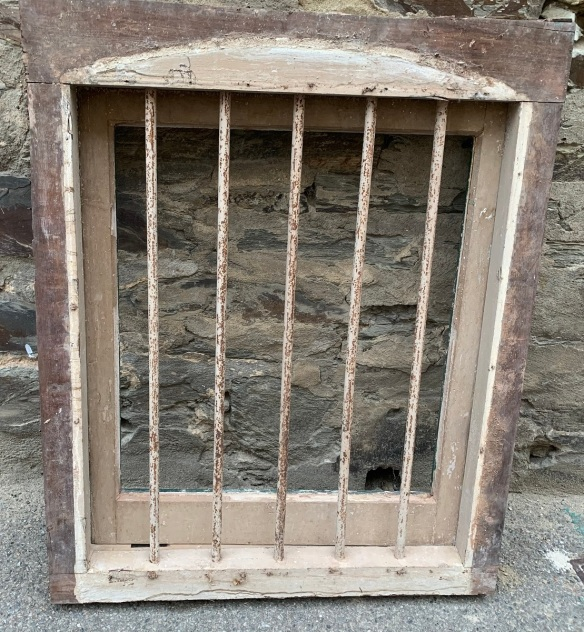 Cellar windows with iron bars , frames are jarrah/redgum , sashes are pine , 780 mm wide x 950 mm tall , x 90 mm thick, 4 available , one needs glass replaced , $245 each salvaged, recycled, demolition, reproduction, restoration, home renovation secondhand, used , original, old, reclaimed, heritage, antique, victorian, art nouveau edwardian, georgian, art deco