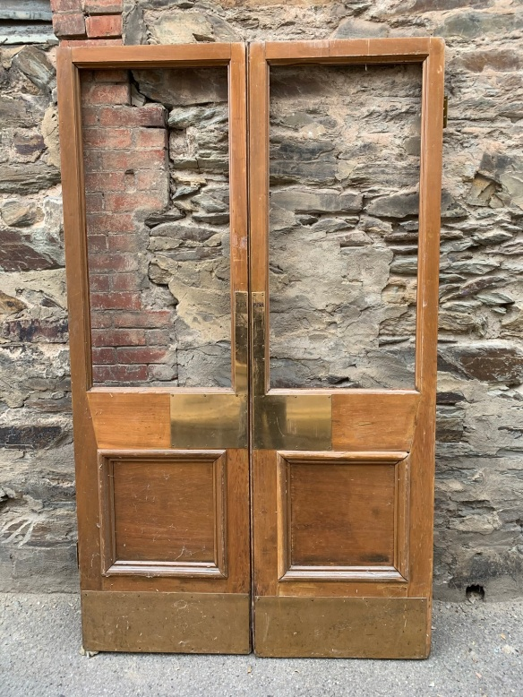 French doors with large brass push plates, 2120 mm x 1275 mm , $545 the pair salvaged, recycled, demolition, reproduction, restoration, home renovation secondhand, used , original, old, reclaimed, heritage, antique, victorian, art nouveau edwardian, georgian, art deco