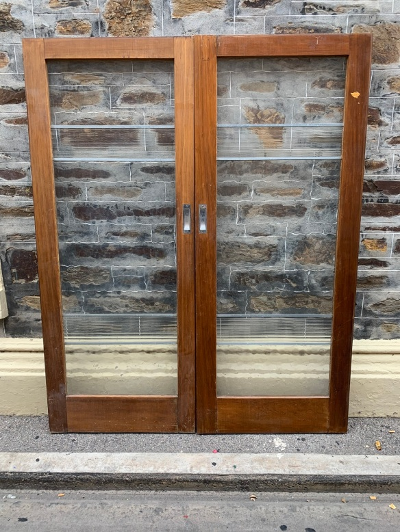 Pair of Glass sliding french doors , with rippled and Washboard glass , 1605 mm wide x 2010 mm tall , $ 445 the pair ( no track ) salvaged, recycled, demolition, reproduction, restoration, home renovation secondhand, used , original, old, reclaimed, heritage, antique, victorian, art nouveau edwardian, georgian, art deco