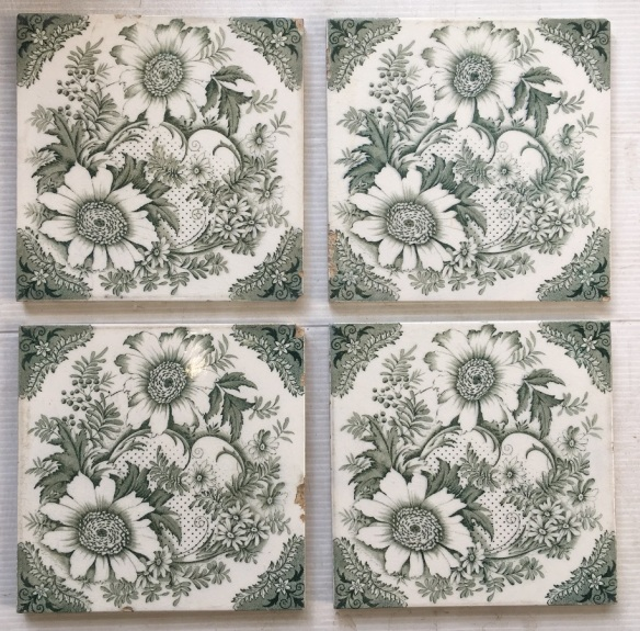 salvaged, recycled, demolition, reproduction, restoration, home renovation secondhand, used , original, old, reclaimed, heritage, antique, victorian, art nouveau edwardian, georgian, art deco Late Victorian fireplace tiles, deep green daisy print on white background, 4 available $35 each SET 175