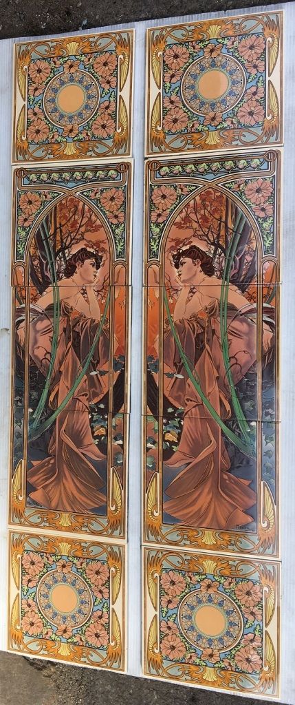 salvaged, recycled, demolition, reproduction, restoration, home renovation secondhand, used , original, old, reclaimed, heritage, antique, victorian, art nouveau edwardian, georgian, art deco Alphonse Mucha reproduction Art Nouveau fireplace tiles, continuous pattern 'Spring', woman in foliage, mirror image left and right panels, $345 OTB 39