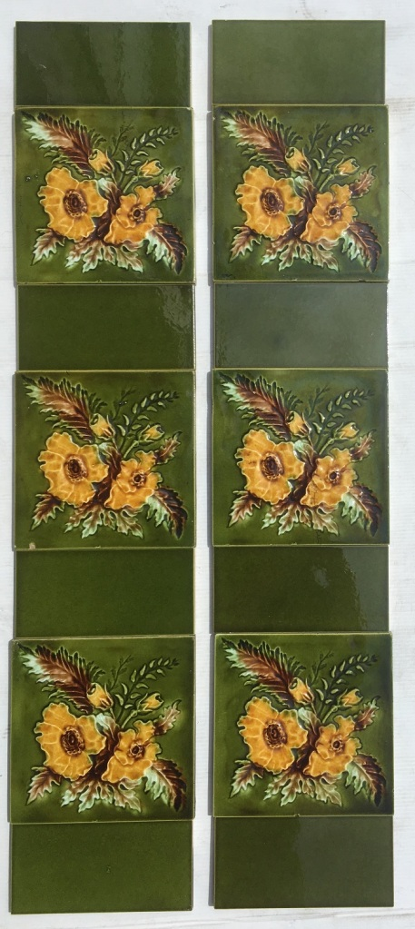 Detail of late Aesthetic Victorian fireplace feature tiles 6x6 inch, rich green with warm yellow flowers, two panel fireplace set $250 (OTB 118)salvaged, vintage recycled, demolition, reproduction, restoration, home renovation secondhand, used , original, old, reclaimed, heritage, antique, victorian, art nouveau edwardian, georgian, art decoDetail of Deco style lettering to pub door