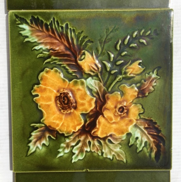 salvaged, recycled, demolition, reproduction, restoration, home renovation secondhand, used , original, old, reclaimed, heritage, antique, victorian, art nouveau edwardian, georgian, art deco Detail of lte Victorian fireplace feature tiles 6x6 inch, rich green with warm yellow flowers, two panel fireplace set $280 SET 176 salvaged, recycled, demolition, reproduction, restoration, home renovation secondhand, used , original, old, reclaimed, heritage, antique, victorian, art nouveau edwardian, georgian, art deco