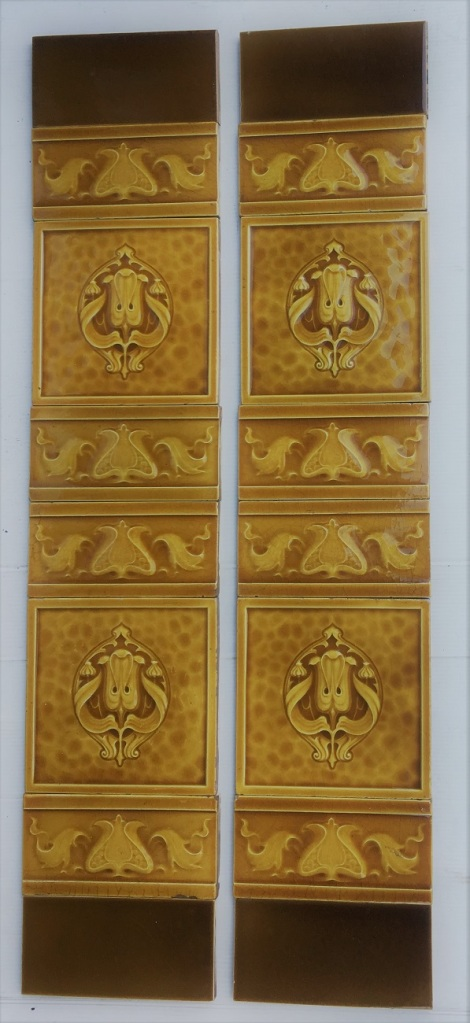 H and R Johnson, England, c 1910, Art Nouveau moulded feature and half tiles in honey colour glaze, $330 SET 180 salvaged, recycled, demolition, reproduction, restoration, home renovation secondhand, used , original, old, reclaimed, heritage, antique, victorian, art nouveau edwardian, georgian, art deco
