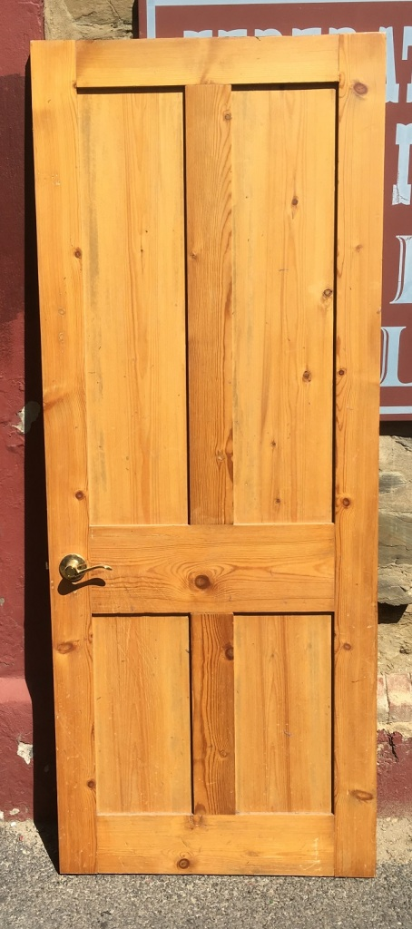 Four panel internal door, pine with brass handle, 800 x 2015mm, $110 salvaged, recycled, demolition, reproduction, restoration, home renovation secondhand, used , original, old, reclaimed, heritage, antique, victorian, art nouveau edwardian, georgian, art deco