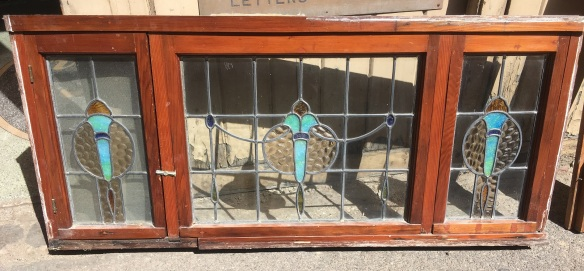 Red pine windows in frame, three leadlight panels with flame / torch designs in turquoise, blue and amber glass, 600 x 1380mm, $585salvaged, recycled, demolition, reproduction, restoration, home renovation secondhand, used , original, old, reclaimed, heritage, antique, victorian, art nouveau edwardian, georgian, art deco