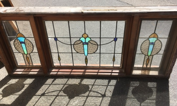 Reverse side of Red pine windows in frame, three leadlight panels with flame / torch designs in turquoise, blue and amber glass, 600 x 1380mm, $585 salvaged, recycled, demolition, reproduction, restoration, home renovation secondhand, used , original, old, reclaimed, heritage, antique, victorian, art nouveau edwardian, georgian, art deco