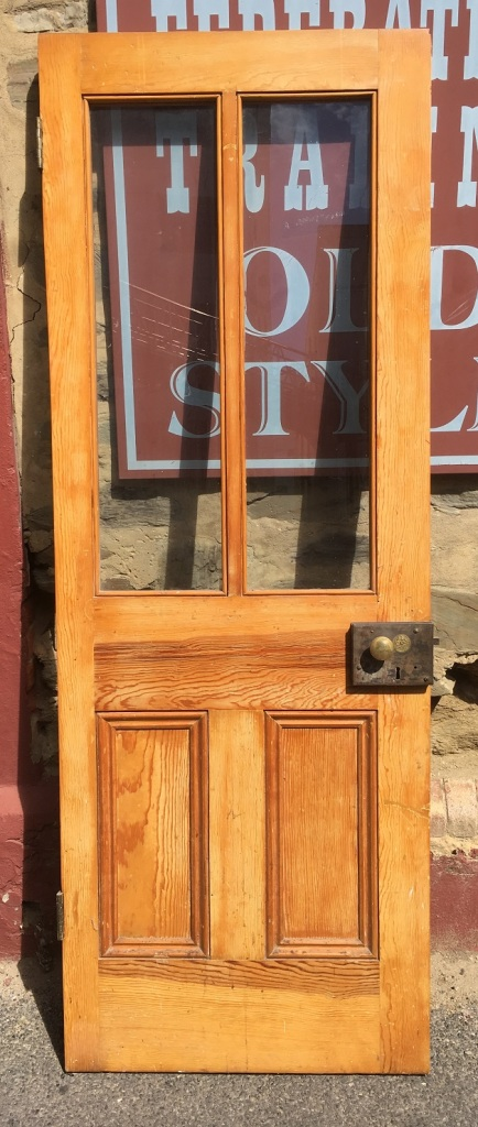 Internal Victorian four panel door, upper panels in clear glass with original lock (no keeper) 720 x 1983mm $220 salvaged, recycled, demolition, reproduction, restoration, home renovation secondhand, used , original, old, reclaimed, heritage, antique, victorian, art nouveau edwardian, georgian, art deco