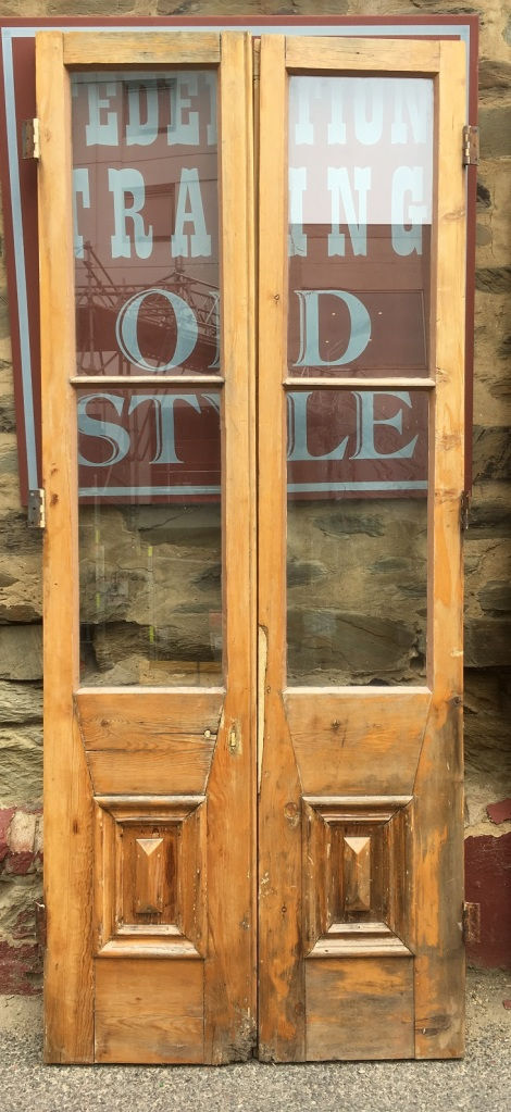 Original Victorian French doors, external. glass panels, somewhat rustic though solid and straight, 845 x 2085mm, $440 salvaged, recycled, demolition, reproduction, restoration, home renovation secondhand, used , original, old, reclaimed, heritage, antique, victorian, art nouveau edwardian, georgian, art deco