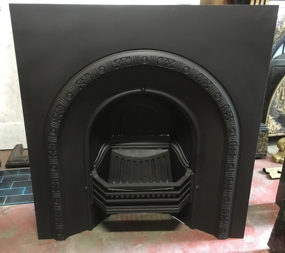 salvaged, recycled, demolition, reproduction, restoration, home renovation secondhand, used , original, old, reclaimed, heritage, antique, victorian, art nouveau edwardian, georgian, art deco Restored original Victorian cast iron fireplace insert, arch, Width 910 x height 960mm, $575