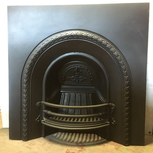 salvaged, recycled, demolition, reproduction, restoration, home renovation secondhand, used , original, old, reclaimed, heritage, antique, victorian, art nouveau edwardian, georgian, art deco Original Victorian English cast iron fireplace insert, circa late 1800s. Fully restored, large burning basket, 965 x 965mm, $675