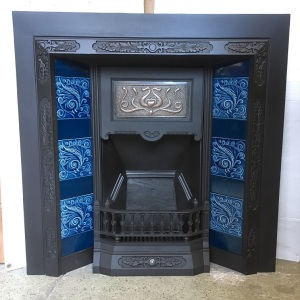 Customer's fireplace restored with original late 1800s tiles (NB example only, please see Tile and Fireplace pages for options)