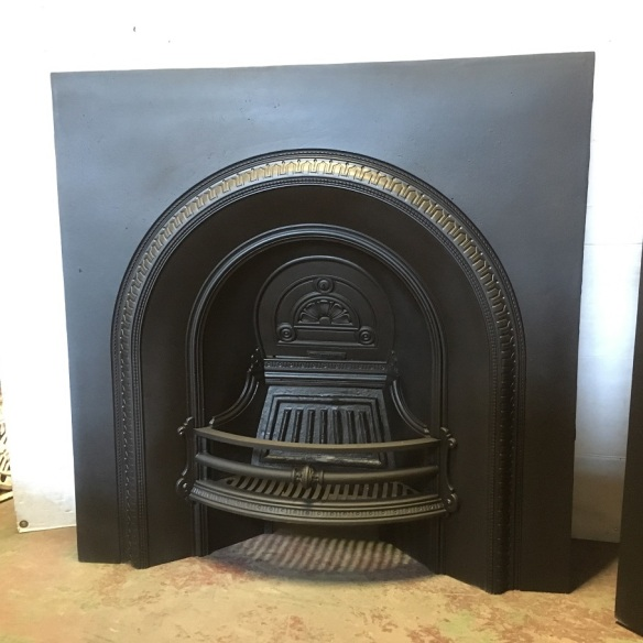 """salvaged, recycled, demolition, reproduction, restoration, home renovation secondhand, used , original, old, reclaimed, heritage, antique, victorian, art nouveau edwardian, georgian, art decoOriginal Victorian English cast iron fireplace insert """"The Rotherham"""" c1880, fully restored, large burning basket, 965 x 965mm, $675"""