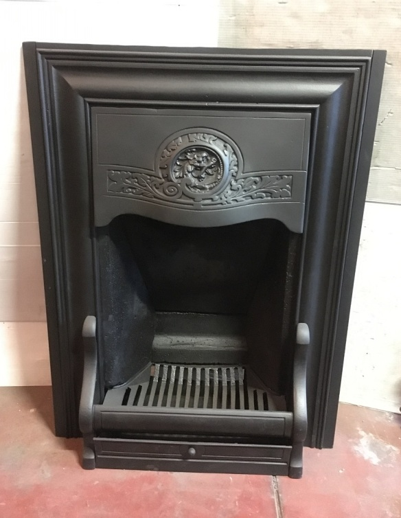 Original Austral Regn No.73 fireplace insert, wolf / dragon head motif in hood, fully restored, width 687 x height 920mm, $650 recycled, demolition, reproduction, restoration, home renovation secondhand, used , original, old, reclaimed, heritage, antique, victorian, art nouveau edwardian, georgian, art deco
