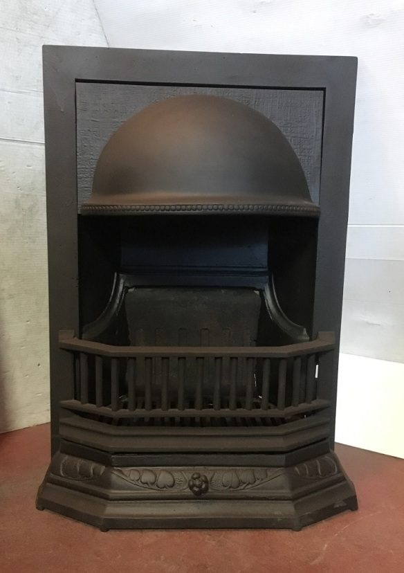 Original cast iron fireplace, half dome hood, fully restored, width 485 x 715mm, $550 salvaged, recycled, demolition, reproduction, restoration, home renovation secondhand, used , original, old, reclaimed, heritage, antique, victorian, art nouveau edwardian, georgian, art deco