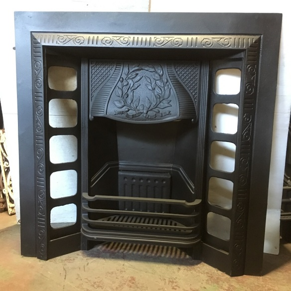 Austral No.199, Reg'd design 1904, original restored cast iron fireplace insert, width 965 x height 965mm, $550 , recycled, demolition, reproduction, restoration, home renovation secondhand, used , original, old, reclaimed, heritage, antique, victorian, art nouveau edwardian, georgian, art deco