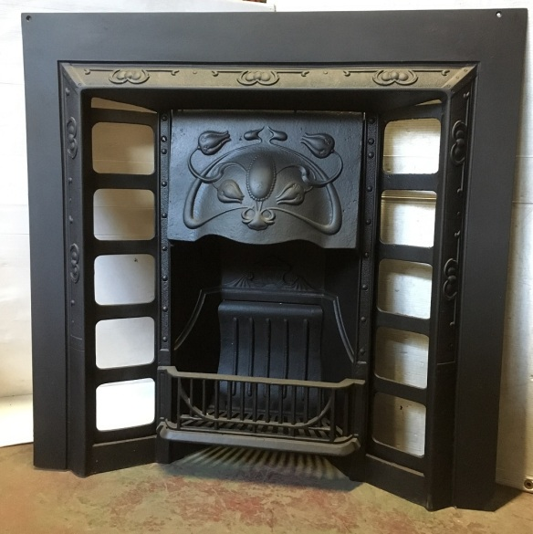 Restored, original cast iron fireplace insert, G and K foundry No.6,, width 955 x height 945mm, $550 salvaged, recycled, demolition, reproduction, restoration, home renovation secondhand, used , original, old, reclaimed, heritage, antique, victorian, art nouveau edwardian, georgian, art deco
