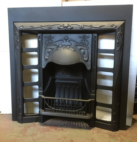 salvaged, recycled, demolition, reproduction, restoration, home renovation secondhand, used , original, old, reclaimed, heritage, antique, victorian, art nouveau edwardian, georgian, art deco Original Original Art Nouveau era G and K foundry, No.12 cast iron fireplace insert, fully restored 965 x 965mm $550
