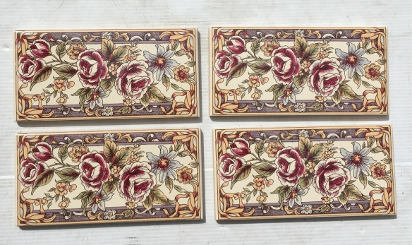 Reproduction feature tiles, detailed floral decals with ribbons and border, 4 available, 3 x 6 inch (152 x 76 x 8mm), $48 for the set (SET 179)salvaged, recycled, demolition, reproduction, restoration, home renovation secondhand, used , original, old, reclaimed, heritage, antique, victorian, art nouveau edwardian, georgian, art deco
