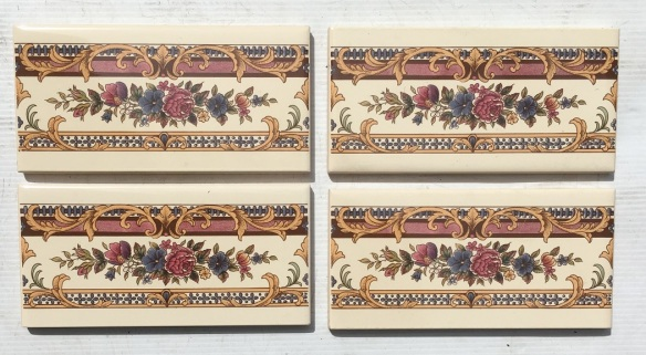 Reproduction feature tiles, detailed floral print with ornate borders, 4 available, 3 x 6 inch (152 x 76 x 8mm), $48 for the set (SET 180)salvaged, recycled, demolition, reproduction, restoration, home renovation secondhand, used , original, old, reclaimed, heritage, antique, victorian, art nouveau edwardian, georgian, art deco