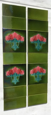 vintage Pilkington Tile and Pottery Co c1930, five stylised pink tulips, glaze ground, two panel fireplace set, $265 (SET 201)salvaged, recycled, demolition, reproduction, restoration, home renovation secondhand, used , original, old, reclaimed, heritage, antique, victorian, art nouveau edwardian, georgian, art deco