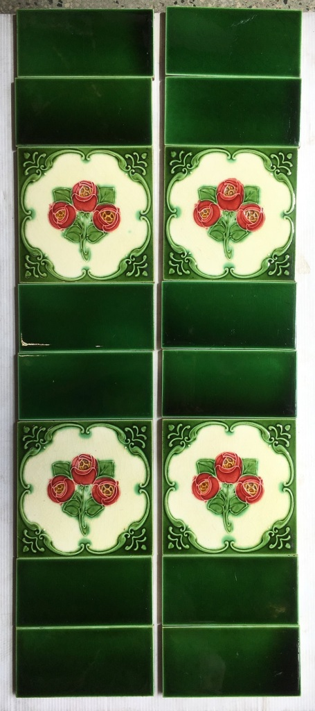 salvaged, recycled, demolition, reproduction, restoration, home renovation secondhand, used , original, old, reclaimed, heritage, antique, victorian, art nouveau edwardian, georgian, art deco Original Victorian fireplace tiles 6x6 inch, burgundy flowers on cream and rich green background, $255 OTB 36