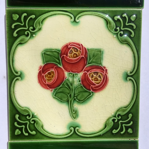 salvaged, recycled, demolition, reproduction, restoration, home renovation secondhand, used , original, old, reclaimed, heritage, antique, victorian, art nouveau edwardian, georgian, art deco detail of original Victorian fireplace tiles 6x6 inch, burgundy flowers on cream and rich green background, $255 OTB 36