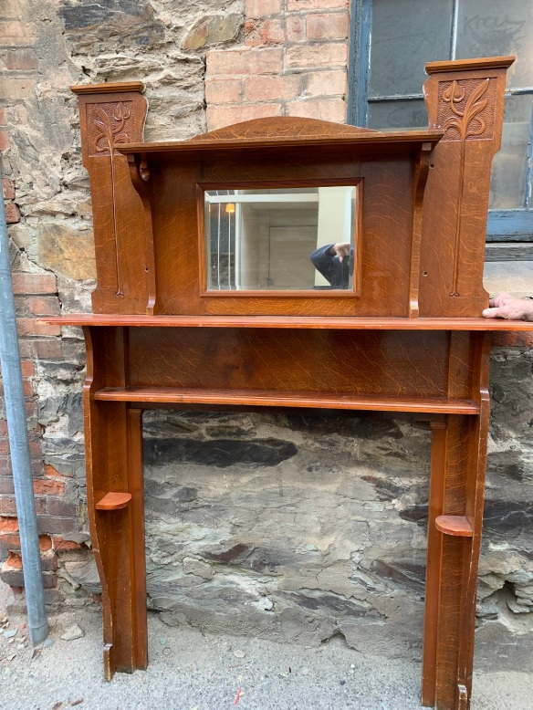 salvaged, recycled, demolition, reproduction, restoration, home renovation secondhand, used , original, old, reclaimed, heritage, antique, victorian, art nouveau edwardian, georgian, art decoMantle and overmantle , top shelf is 1390 mm x 210 mm , height is 1920 mm , opening is 920 mm x920 mm , $ 685