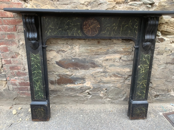 salvaged, recycled, demolition, reproduction, restoration, home renovation secondhand, used , original, old, reclaimed, heritage, antique, victorian, art nouveau edwardian, georgian, art decoOriginal mantle with a painted marble style finish , top shelf is 1470 mm x 190 mm , height is 1155 mm , opening is 915 mm x 915 mm , $ 330