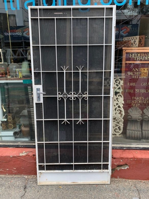 salvaged, recycled, demolition, reproduction, restoration, home renovation secondhand, used , original, old, reclaimed, heritage, antique, victorian, art nouveau edwardian, georgian, art decoIron screen door with heavy duty mesh fitted , 895 mm x 2040 mm , $ 400