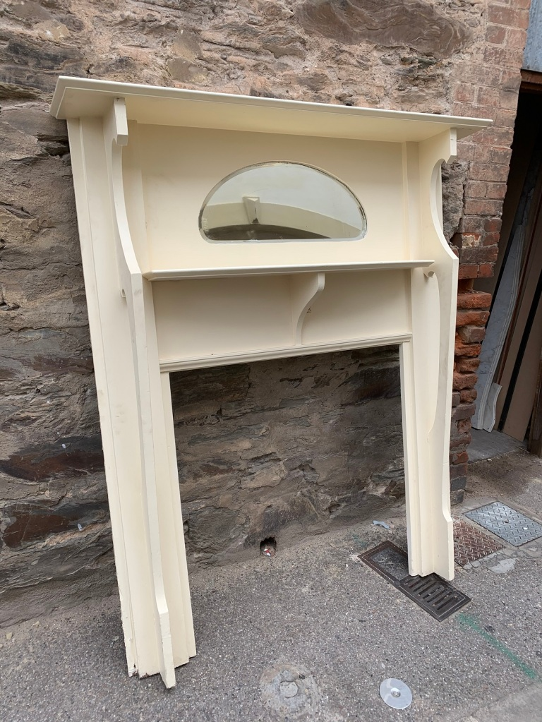 salvaged, recycled, demolition, reproduction, restoration, home renovation secondhand, used , original, old, reclaimed, heritage, antique, victorian, art nouveau edwardian, georgian, art decoLarge Bungalow mantle , top shelf is 1420 mm x 245 mm , height is 1685 mm , opening is 910 mm wide x 930 mm tall , $ 330