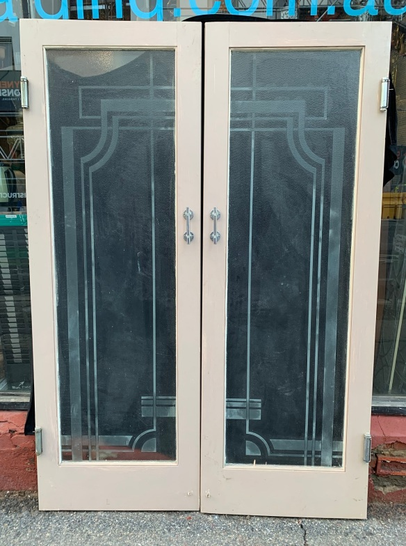 salvaged, recycled, demolition, reproduction, restoration, home renovation secondhand, used , original, old, reclaimed, heritage, antique, victorian, art nouveau edwardian, georgian, art decoArt Deco French /Swing Doors with , swing ( 2 way hinges ) Etching to glass and nice deco handles , 1510 mm wide x 2015 mm tall , $ 645 the pair