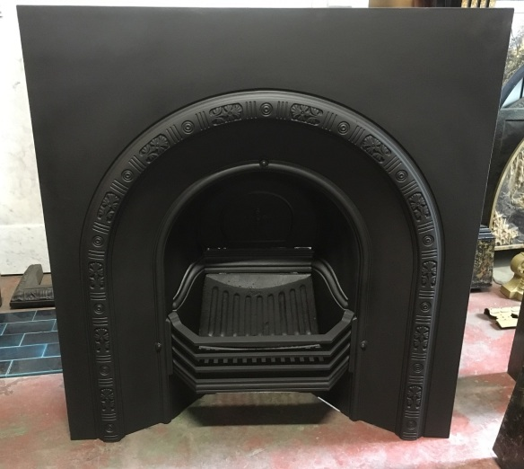 Original Victorian No.186A cast iron fireplace, arch, fully restored, width 910mm x height 960mm, $575 salvaged, recycled, demolition, reproduction, restoration, home renovation secondhand, used , original, old, reclaimed, heritage, antique, victorian, art nouveau edwardian, georgian, art deco