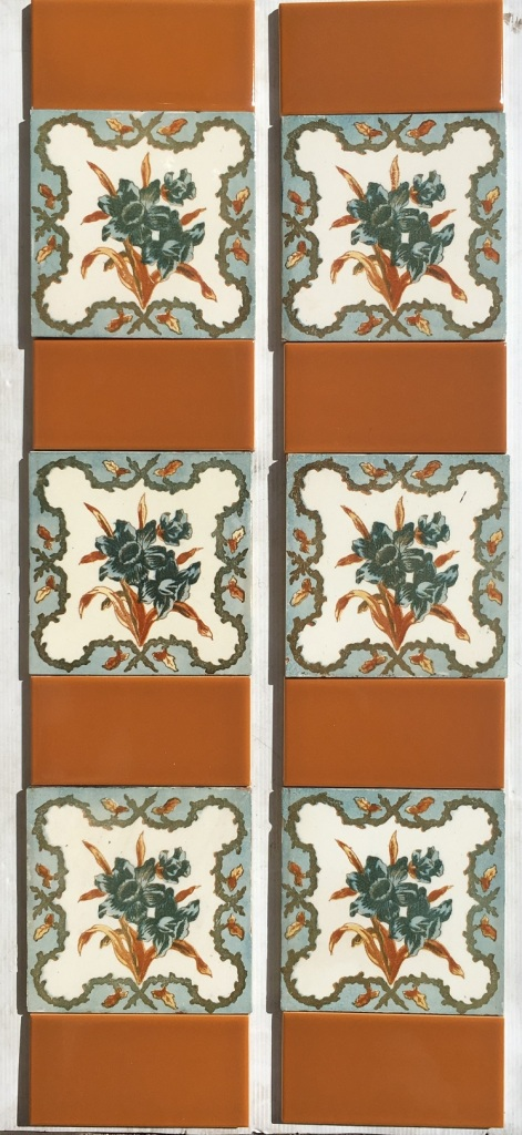 Victorian decorative tiles, c 1890s, four colour transfer print, floral design, $265 OTB 43 Victorian decorative tiles, c 1890s, four colour transfer print, floral design, $265 salvaged, recycled, demolition, reproduction, restoration, home renovation secondhand, used , original, old, reclaimed, heritage, antique, victorian, art nouveau edwardian, georgian, art deco