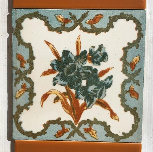 Detail of Victorian decorative tiles, c 1890s, four colour transfer print, floral design, $265 salvaged, recycled, demolition, reproduction, restoration, home renovation secondhand, used , original, old, reclaimed, heritage, antique, victorian, art nouveau edwardian, georgian, art deco