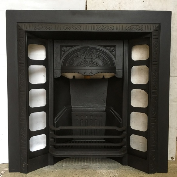 Original Austral cast iron fireplace with detailed designs on the domed hood, fully restored, width 965mm x height 965mm, $545 salvaged, recycled, demolition, reproduction, restoration, home renovation secondhand, used , original, old, reclaimed, heritage, antique, victorian, art nouveau edwardian, georgian, art deco