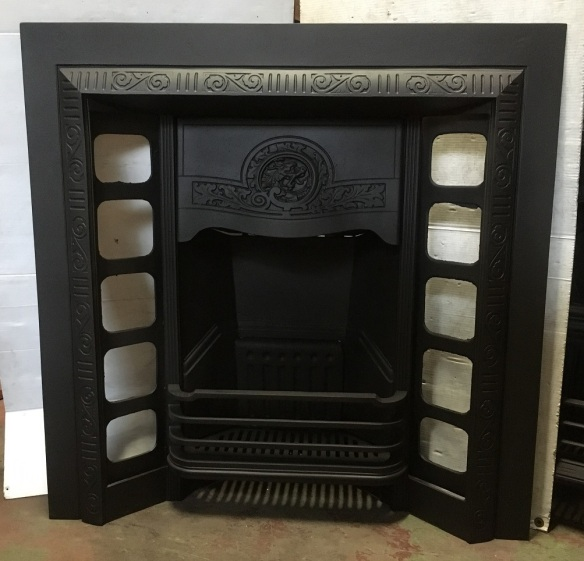 Original Austral cast iron fireplace with dragon head design in the hood, fully restored, width 965mm x height 965mm, $545 salvaged, recycled, demolition, reproduction, restoration, home renovation secondhand, used , original, old, reclaimed, heritage, antique, victorian, art nouveau edwardian, georgian, art deco