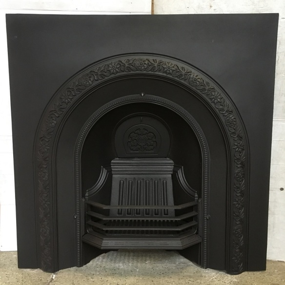 Original Etna cast iron fireplace, arch with floral border pattern, fully restored, width 960mm x height 965mm, $575 salvaged, recycled, demolition, reproduction, restoration, home renovation secondhand, used , original, old, reclaimed, heritage, antique, victorian, art nouveau edwardian, georgian, art deco