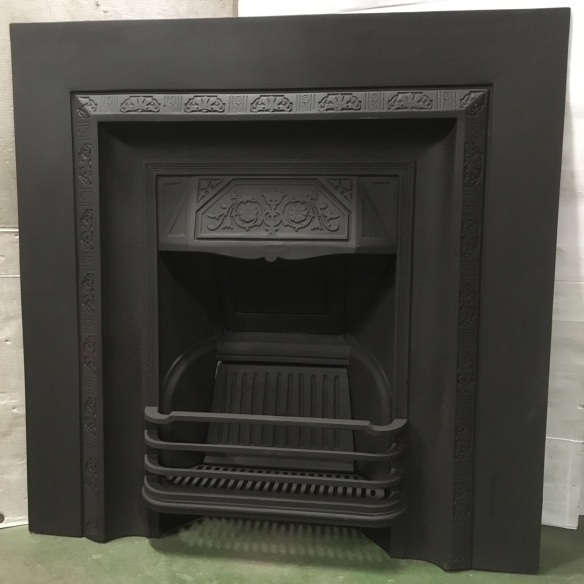 Original Edwardian cast iron fireplace No. 50, fully restored, width 965mm x height 965mm, $575 salvaged, recycled, demolition, reproduction, restoration, home renovation secondhand, used , original, old, reclaimed, heritage, antique, victorian, art nouveau edwardian, georgian, art deco