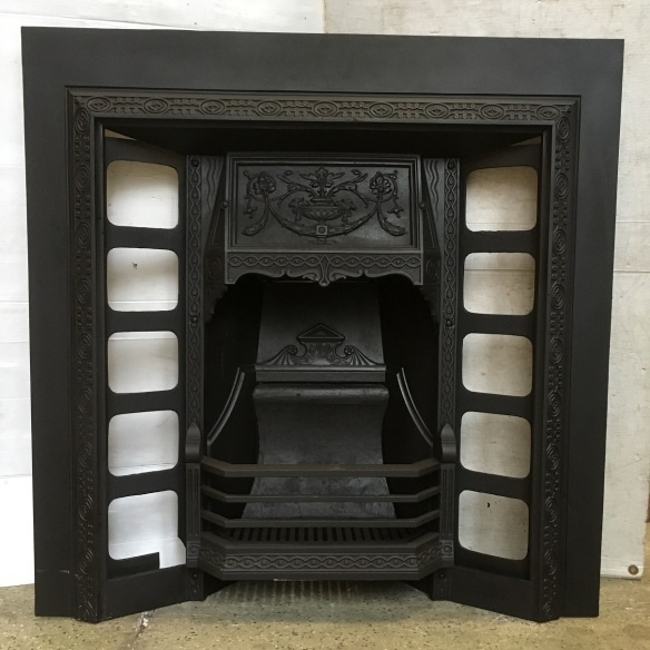 Original Victorian No.186A cast iron fireplace, fully restored, width 965mm x height 965mm, $645 salvaged, recycled, demolition, reproduction, restoration, home renovation secondhand, used , original, old, reclaimed, heritage, antique, victorian, art nouveau edwardian, georgian, art deco
