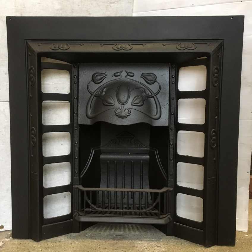 Original Galliers and Klaerr No.6 cast iron fireplace insert, Art Nouveau design, fully restored, width 955 x height 953mm, $550 salvaged, recycled, demolition, reproduction, restoration, home renovation secondhand, used , original, old, reclaimed, heritage, antique, victorian, art nouveau edwardian, georgian, art deco