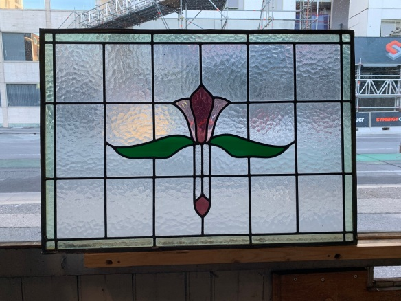 salvaged, recycled, demolition, reproduction, restoration, home renovation secondhand, used , original, old, reclaimed, heritage, antique, victorian, art nouveau edwardian, georgian, art decoLeadlight panels , 805 mm x 560 mm , 2 matching available , $ 220 each